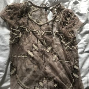 Free People Transparent Beaded and Embroidered Top